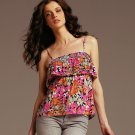 Elle Ruffled Womens Cami Camisole Floral Pink - Womens Large Teens Girls NEW