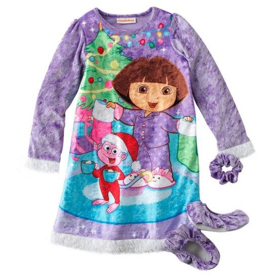 Dora the Explorer Christmas Santa Clause NightGown + Slippers Sz. 6 NEW