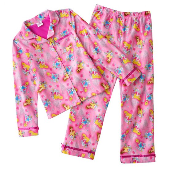Disney Princess Flannel Girls Winter Pajama Set 2 Pc Sz. 4 NEW