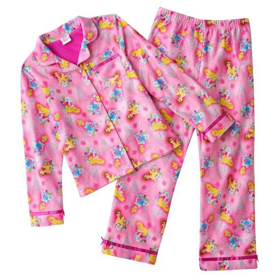 Disney Princess Flannel Girls Winter Pajama Set 2 Pc Sz. 6 NEW