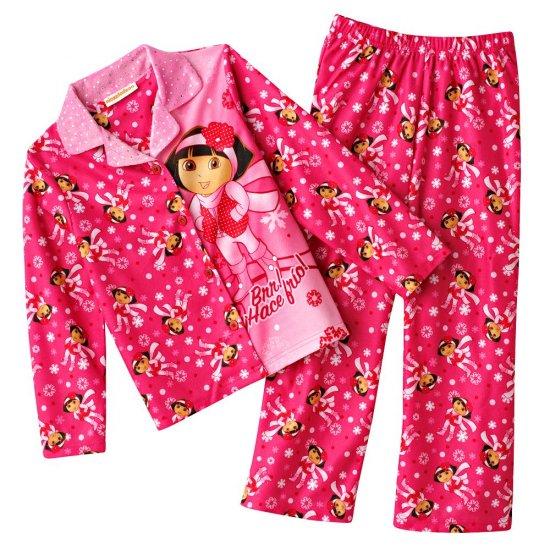 Dora the Explorer Girls Winter Flannel Pajama Set 2 Pc Sz. 4 NEW