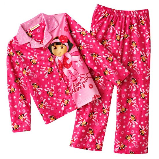 Dora the Explorer Girls Winter Flannel Pajama Set 2 Pc Sz. 6 NEW