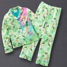 Disney Fairies Girls Winter Fleece Pajama Set 2 Pc Sz. 8 Green NEW