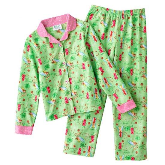 Disney Tinker Bell Tinkerbell Girls Winter Flannel Pajama Set 2 Pc Sz. 6 Green NEW