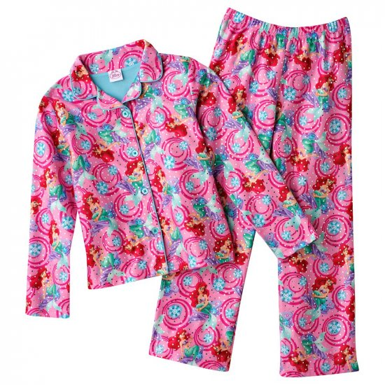 Disney Ariel Pink Girls Winter Flannel Pajama Set 2 Pc Sz. 4 NEW