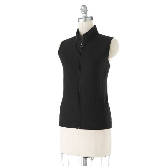 Womens Quilted Vest by Croft and Barrow Size Medium Petite Black NEW
