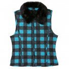 Girls Buffalo Plaid Vest by IZ Amy Byer Faux Fur Size XL Turquoise NEW