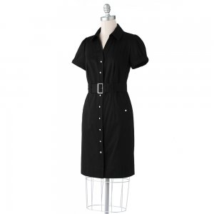 Womens Petite Solid Black Shirt-Dress by Apt. 9 Sz. 10 Petite NEW