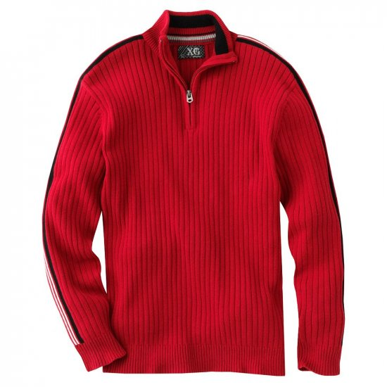 Boys Size Medium -10/12 -1/4 Zip Striped Sweater in Deep Red by XG Long Sleeves NEW