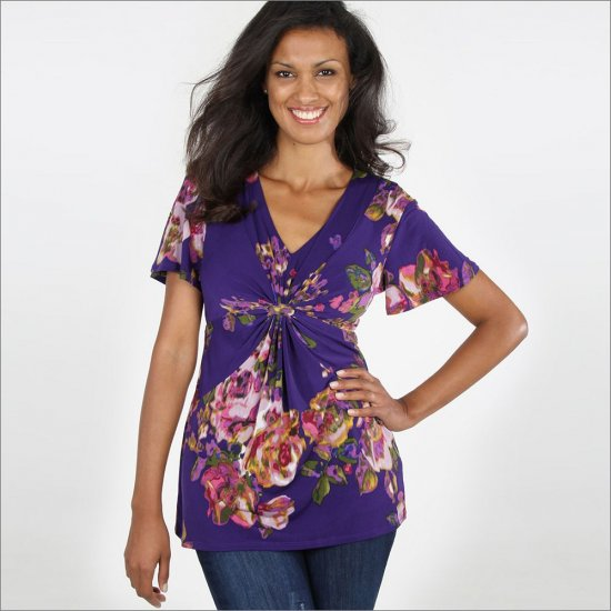 Daisy Fuentes Petite Floral Empire Shirt or Top Sz. Large Petite NEW
