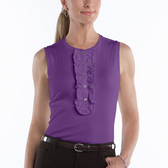 Chaps Purple Top or Shirt Sleeveless Womens Top Ruffled Henley Style Size Large L NEW