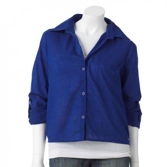 Hang Ten Woven Crop Top Blue Juniors Shirt Size Medium NEW