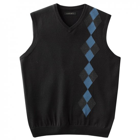 Mens Patterned Sweater Vest by Axist Black Base XL Extra Large NEW