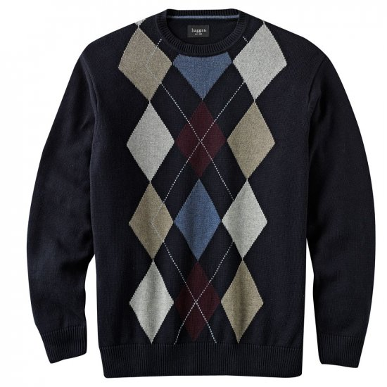 Mens Haggar Argyle Crew Neck Sweater XL Extra Large Navy NEW