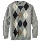 Mens Haggar Argyle Crew Neck Sweater XXL or 2XL Gray NEW