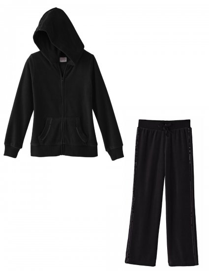 Girls 2 Pc Hoodie + Pants Sequined Details Velour Suit Black Sz 4 NEW