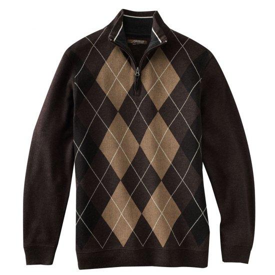 Mens Method Brand Argyle 1/4 Zip Sweater Brown XL NEW