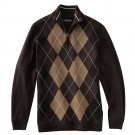 Mens Method Brand Argyle 1/4 Zip Sweater Brown XL NEW
