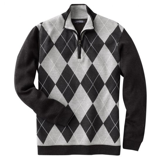 Mens Method Brand Argyle 1/4 Zip Sweater Gray XL NEW