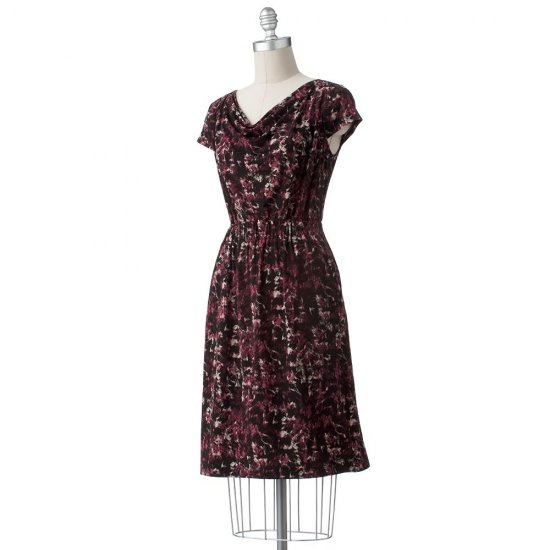 Womens Cowlneck Short Sleeve Dress Maroon Multi by Axcess Sz Medium NEW