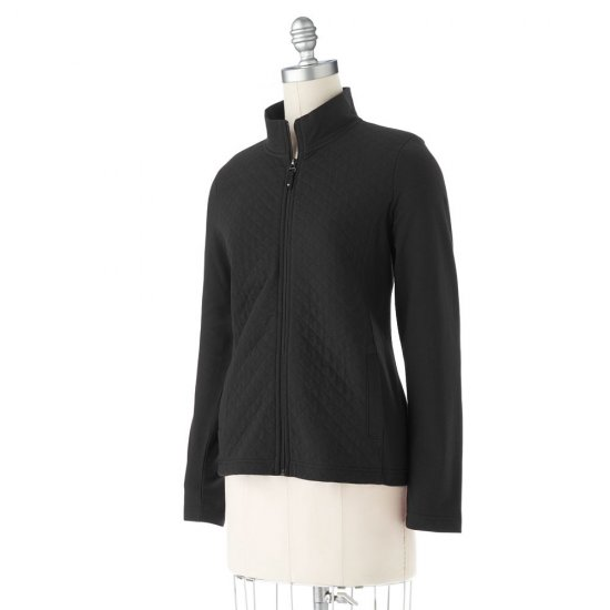 Womens Quilted Jacket by Croft and Barrow Size Medium Petite Black NEW