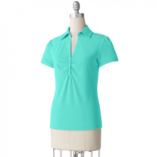 Teal Green Shirred Polo Top by Apt. 9 2X - $26.00 NEW
