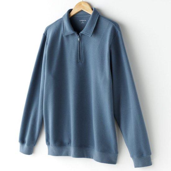 Croft Barrow Brand Mens Fleece SweatShirt Sweat Shirt Top Zip Front Long Sleeve Sz XL Blue NEW
