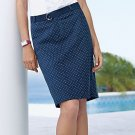 NEW Navy Blue Polka Dot Skirt + Belt Womens Sz. 12 Petite Chaps NEW