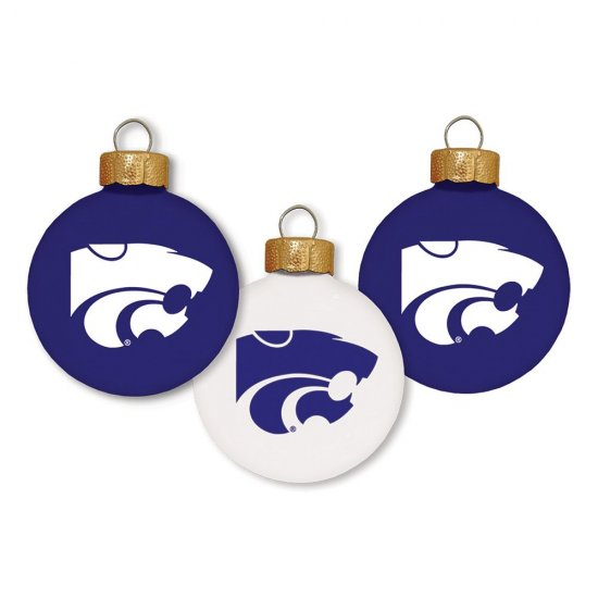 NEW Kansas State Wildcats 3 Pc Ornament Set Christmas Decoration Glass Set
