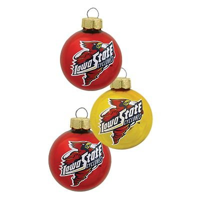 NEW Iowa State Cyclones 3 Pc Ornament Set Christmas Decoration Glass NEW