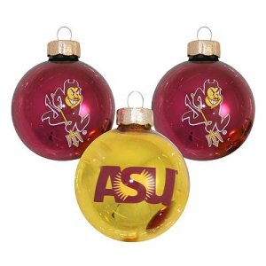 NEW Arizona State Sundevils 3 Pc Ornament Set Christmas Decoration Glass NEW
