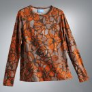 Vera Wang Floral Top Shirt Long Sleeves Orange Sz. Petite Small NEW
