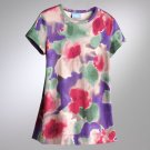 Vera Wang Floral Top Shirt Short Sleeves Purple Sz. Petite Small NEW