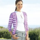 Womens Purple Button Front Dakota Striped Cardigan Sweater by CHAPS Size Small NEW