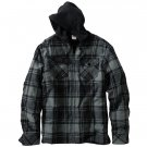 Hang Ten Mens Plaid Flannel Hoodie Hooded Zip Front SweatShirt Sweat Shirt NEW Medium GRAY