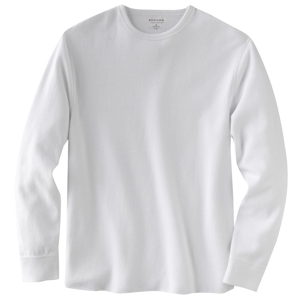 mens white thermal shirt top or tee long sleeve sz medium new