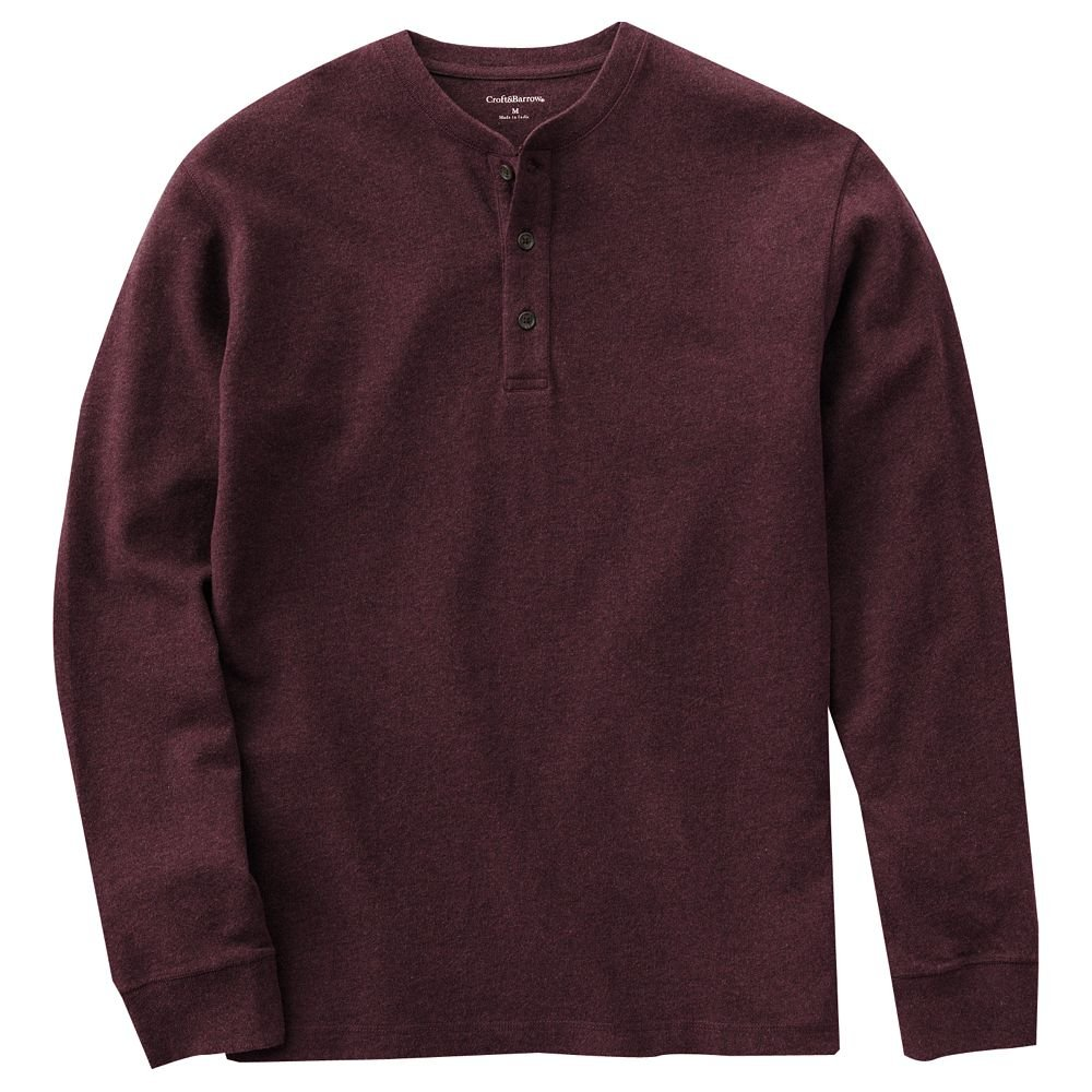 Mens Henley Shirt Top Long Sleeve Sz Large Dark Red Sueded New