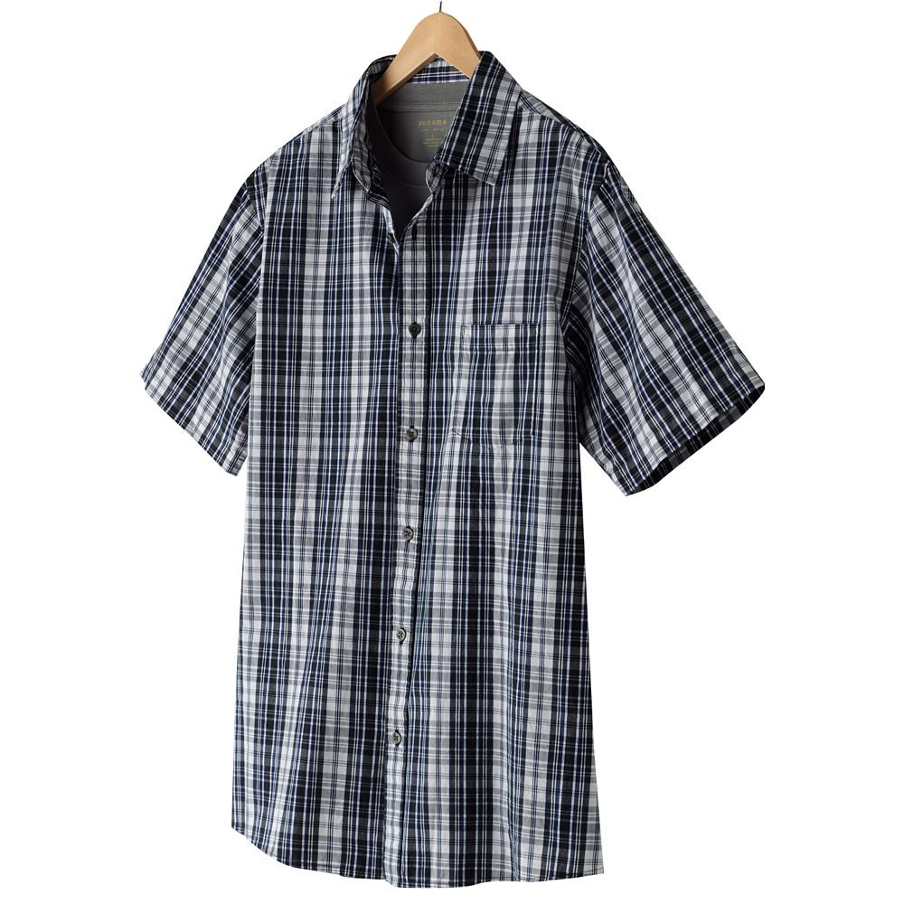 Mens 2 in 1 Casual Button-Front Shirt + Tee Extra Large or XL Blues Sonoma NEW