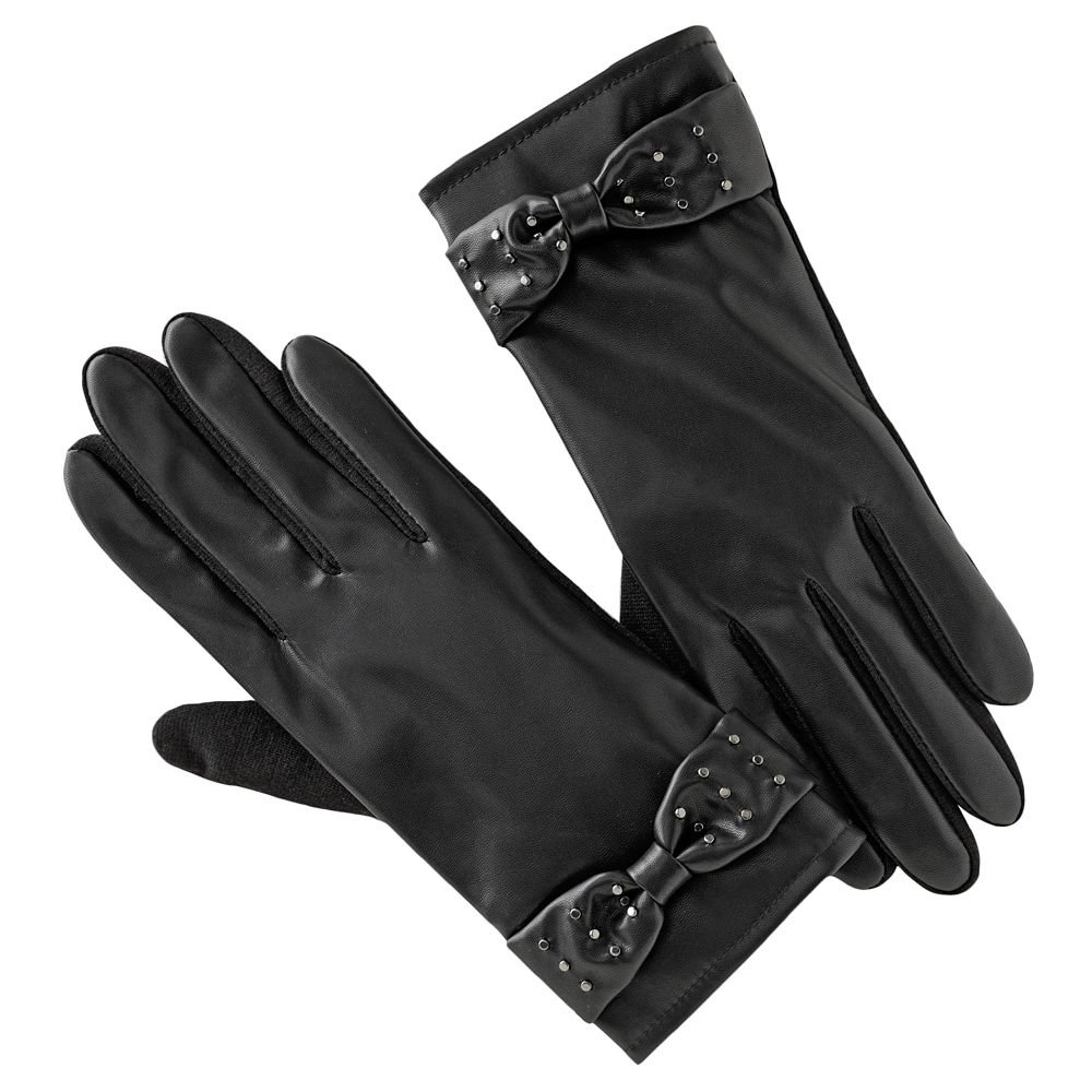 Apt. 9 Womens Studded Bow Stretch Gloves Black OSFA Winter Gloves