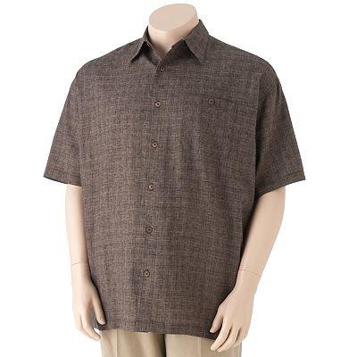 Haggar Brand Linen Rayon 2L T Tall Mens Casual Shirt Top Big Tall