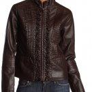 Big Chill Womens Dark Brown Plum Ruffle Faux Leather Jacket Medium NEW