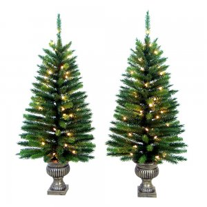 NEW in Box Set of 2 Prelit Potted Christmas Trees - 4 Ft. Indoor/Outdoor