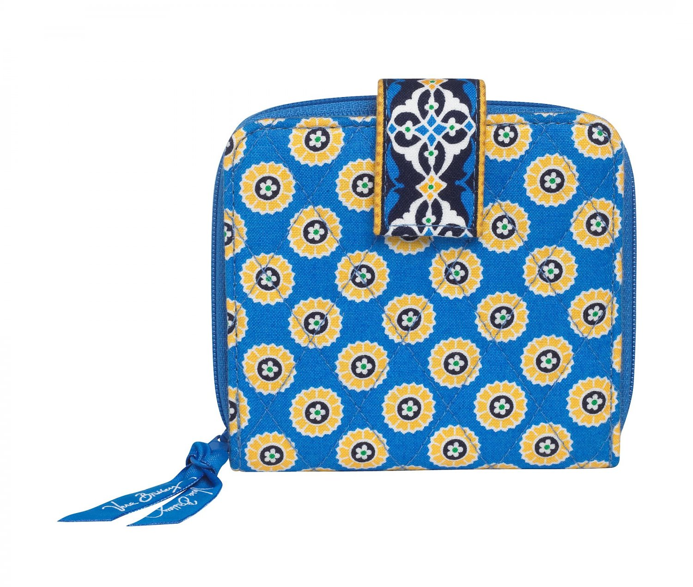 Vera Bradley Mini Zip Wallet Riviera Blue Billfold $27 NEW