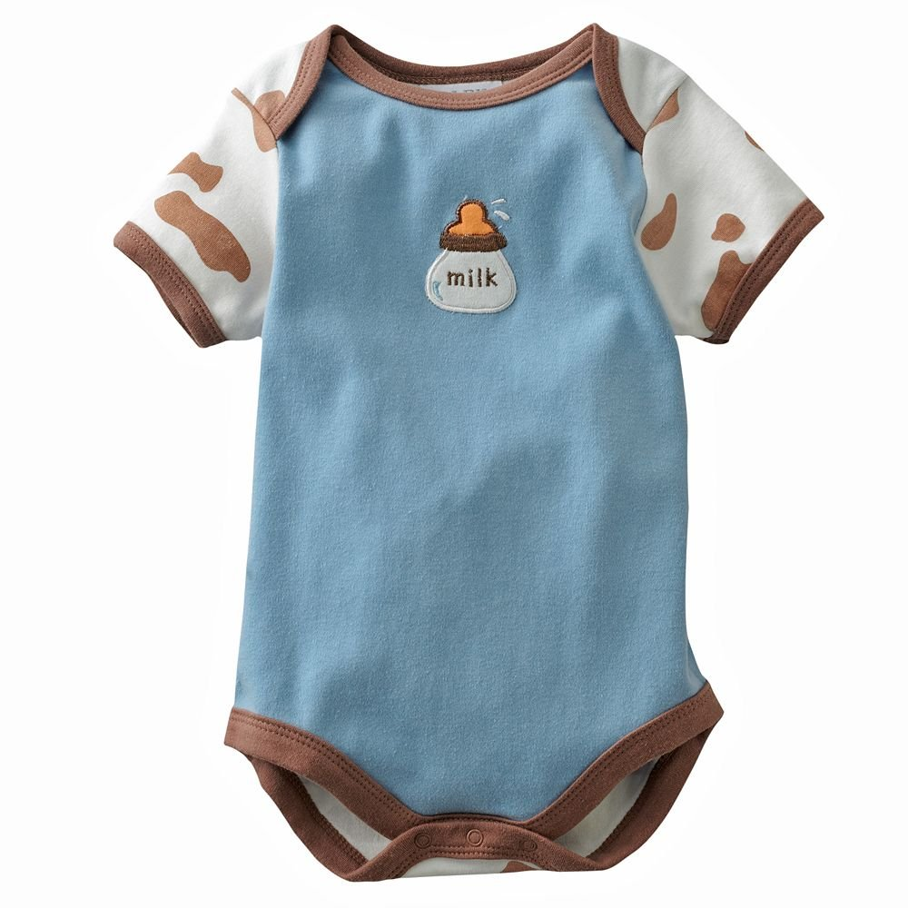NEW Baby by Bon Bebe One Pc 6 to 9 Mo Baby Outfit BLUE Cow MILK Design
