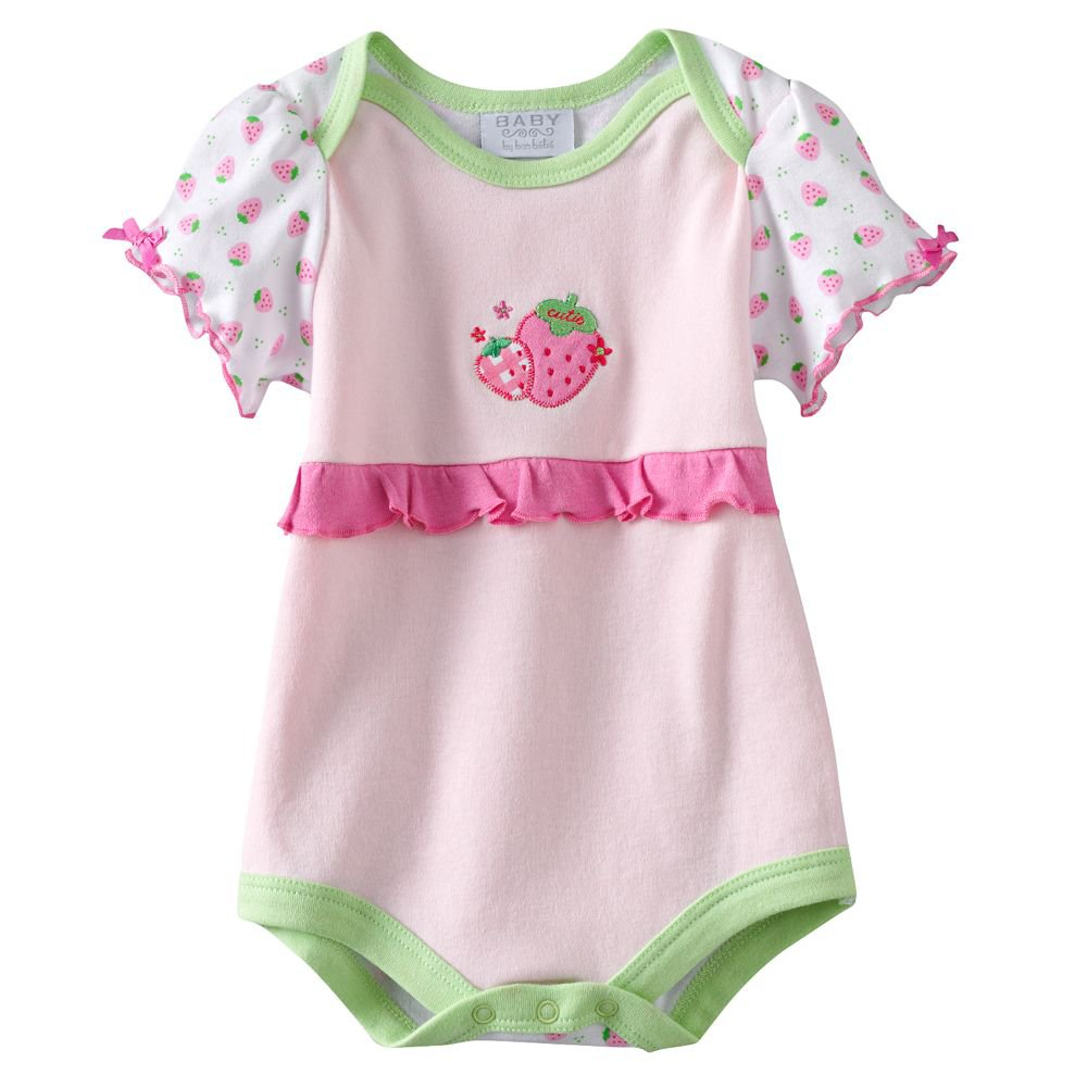 NEW Baby by Bon Bebe One Pc 3 to 6 Mo Baby Outfit Pink Strawberry  Onesie