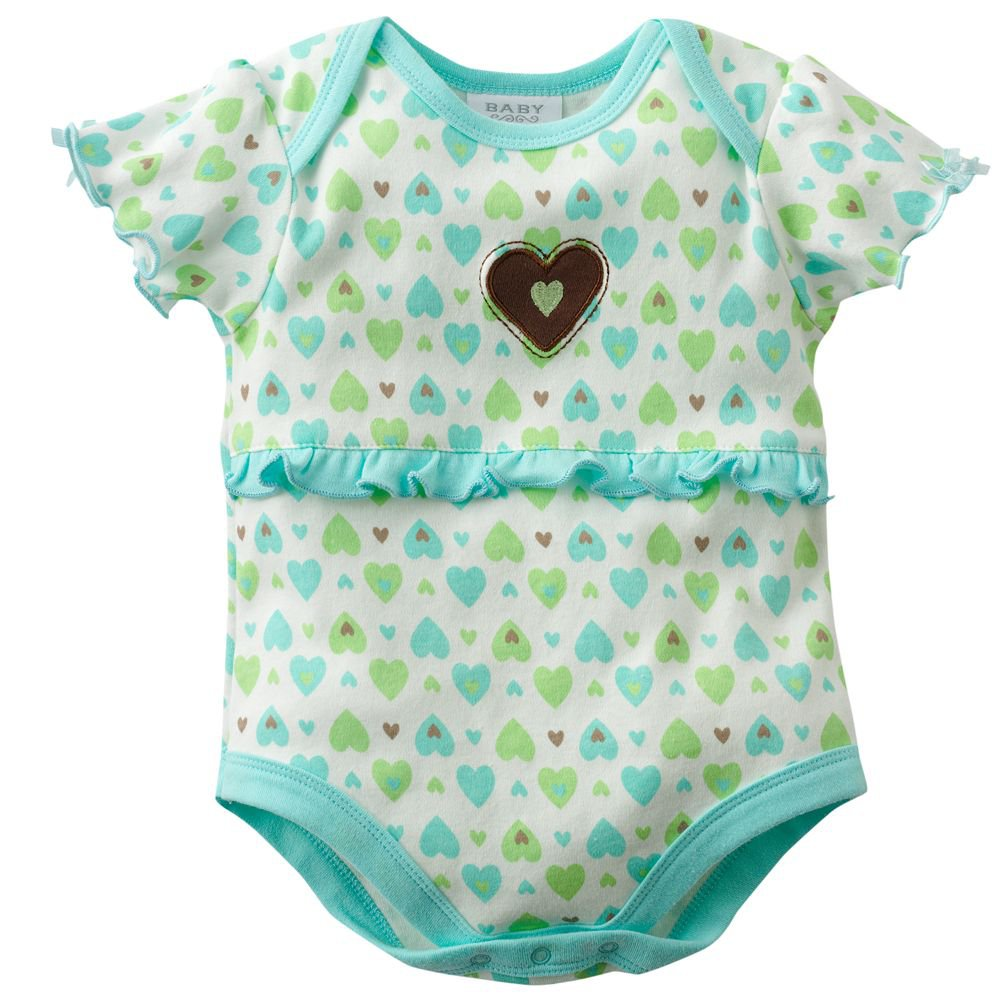 NEW Baby by Bon Bebe One Pc 6 to 9 Mo Baby Outfit Heart Design  Onesie