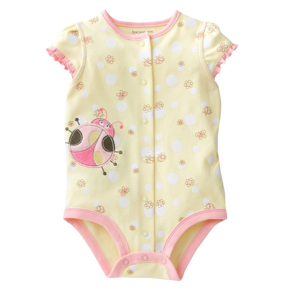 NEW First Moments LadyBug One Pc 3 to 6 Mo Baby Outfit Yellow Lady Bug Onesie