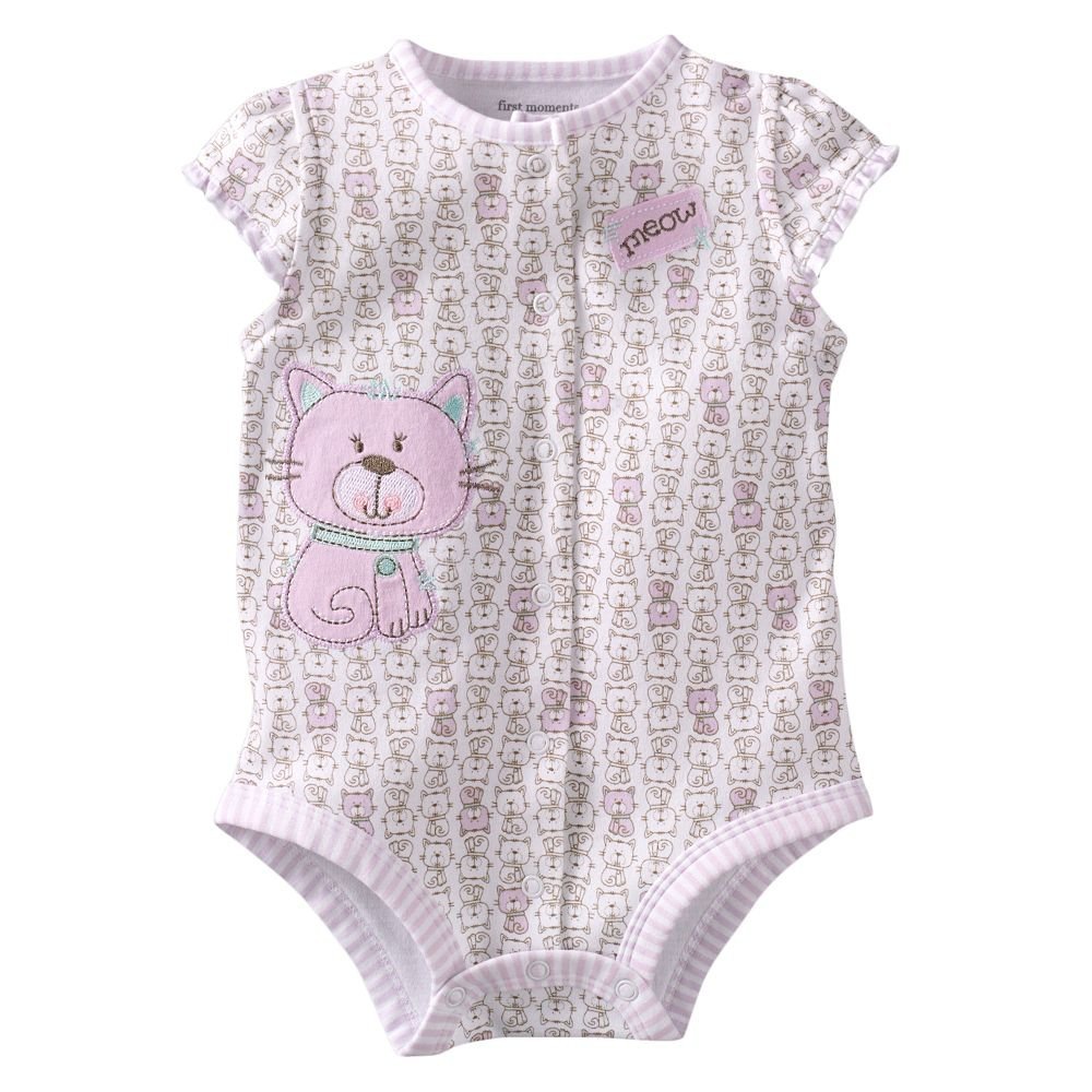 NEW First Moments Cat Creeper One Pc 3 to 6 Mo Baby Outfit White Kitty Onesie