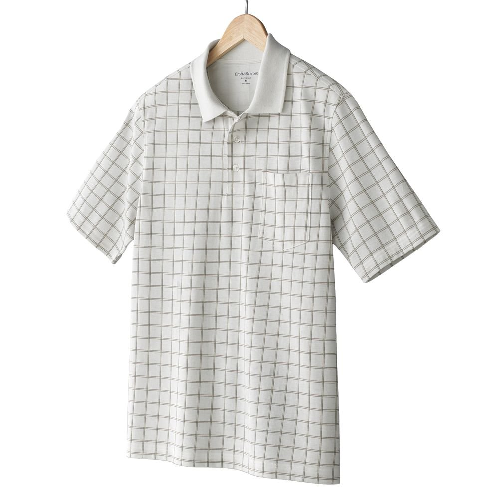 NEW Cream Plaid Polo Shirt Mens Short Sleeve Sz Extra Large XL Croft Barrow $34.00
