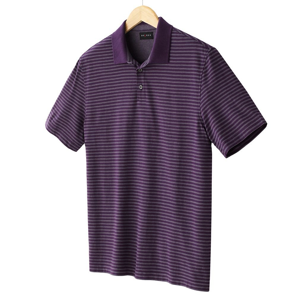 NEW Purple Striped Polo Shirt Mens Short Sleeve Sz Extra Large XL Axcess $34.00